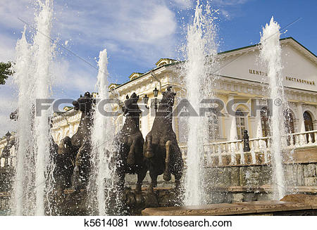 "Stock Photography of Fountain ""Four seasons"" (horses), Manezhnaya."