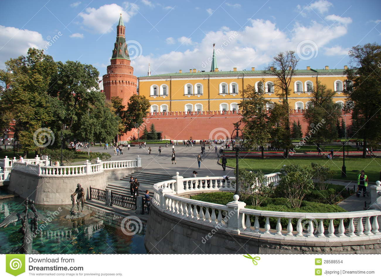 Alexander Garden, Manezhnaya Square And Moscow Kremlin Editorial.