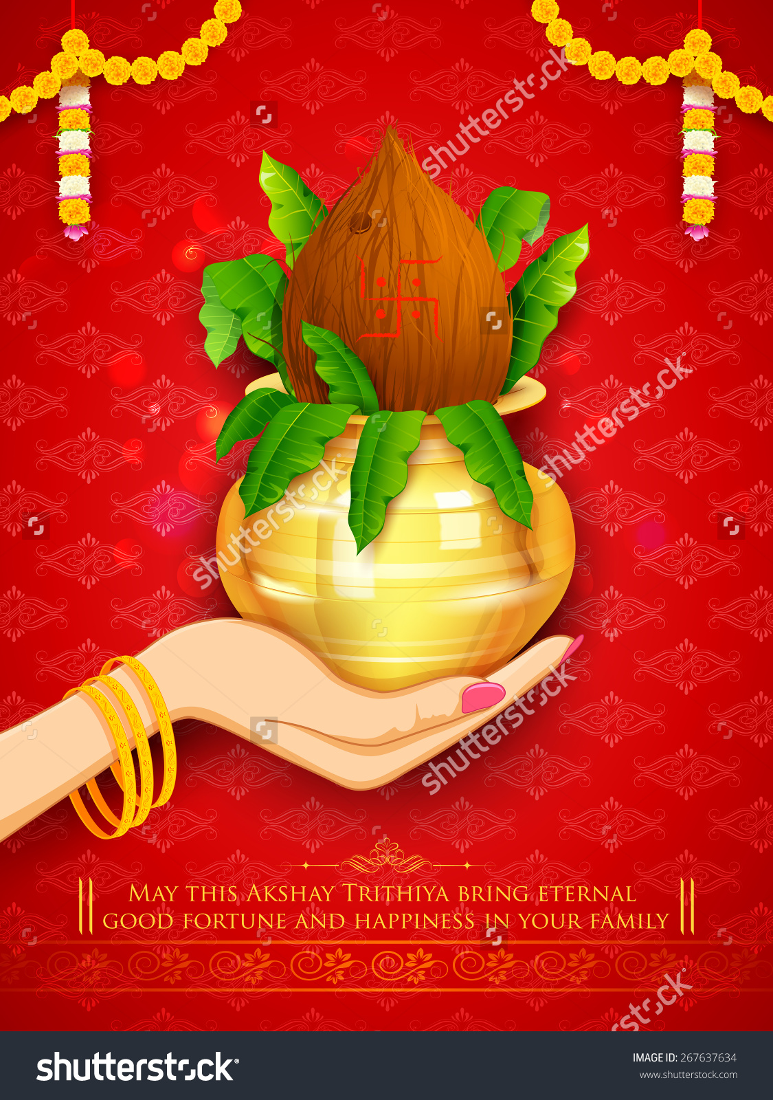 Illustration Hand Holding Mangal Kalash Akshaya Stock Vector.