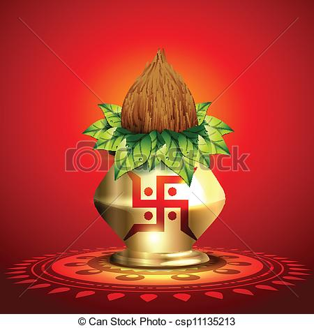 EPS Vector of Mangal Kalash with Coconut.