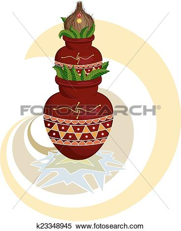 Clipart of Divine Mangal Kalash With Coconut k23348945.