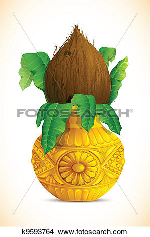 Clipart of Mangal Kalash with Coconut k9593764.
