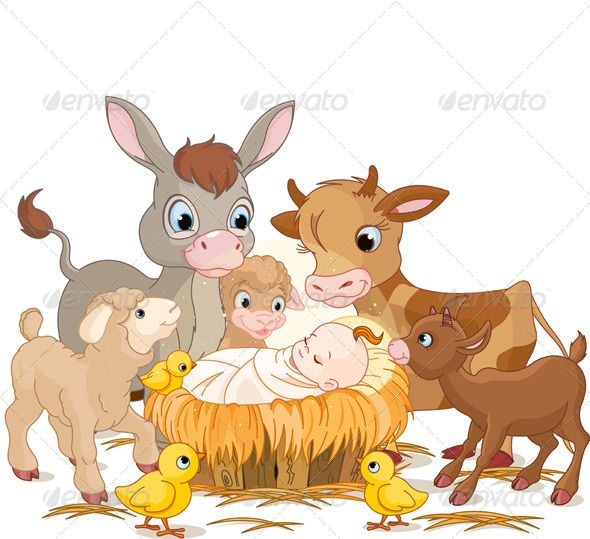 Holy child with donkey, lambs, goat and calf.
