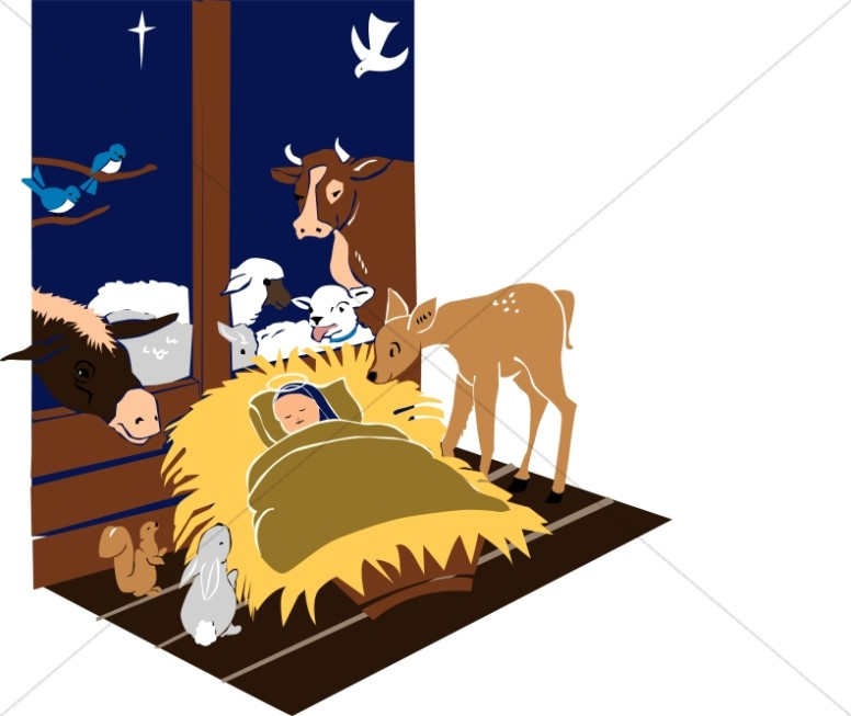 Manger Scene with Jesus and Animals.