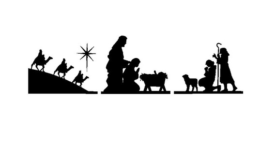 Free Nativity Clipart Silhouette.
