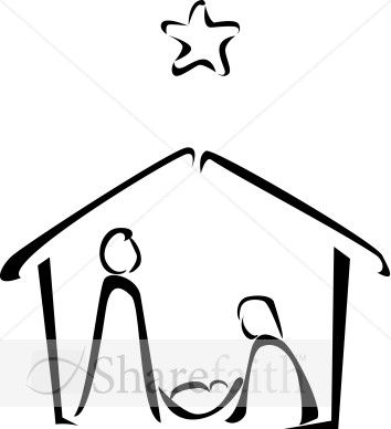 Black and White Nativity Sketch.