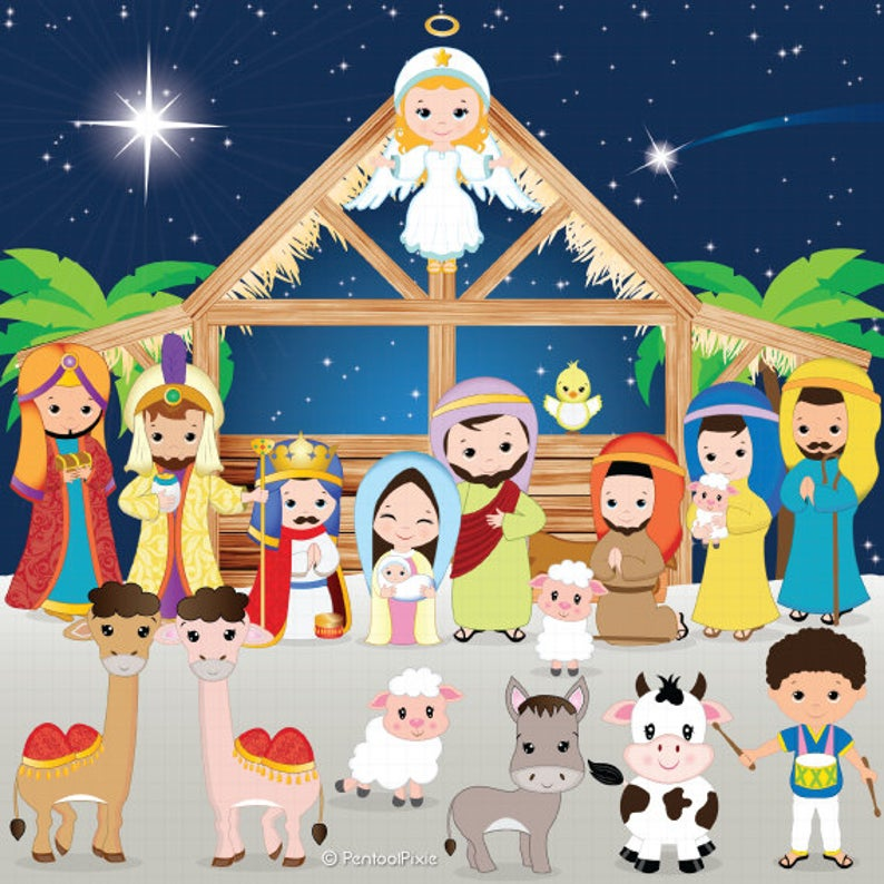 Nativity clipart, Nativity clip art, Christmas clipart, Jesus, Mary,  Joseph, Manger, Shepherds, Baby Jesus, Holiday, Stable, Angel.