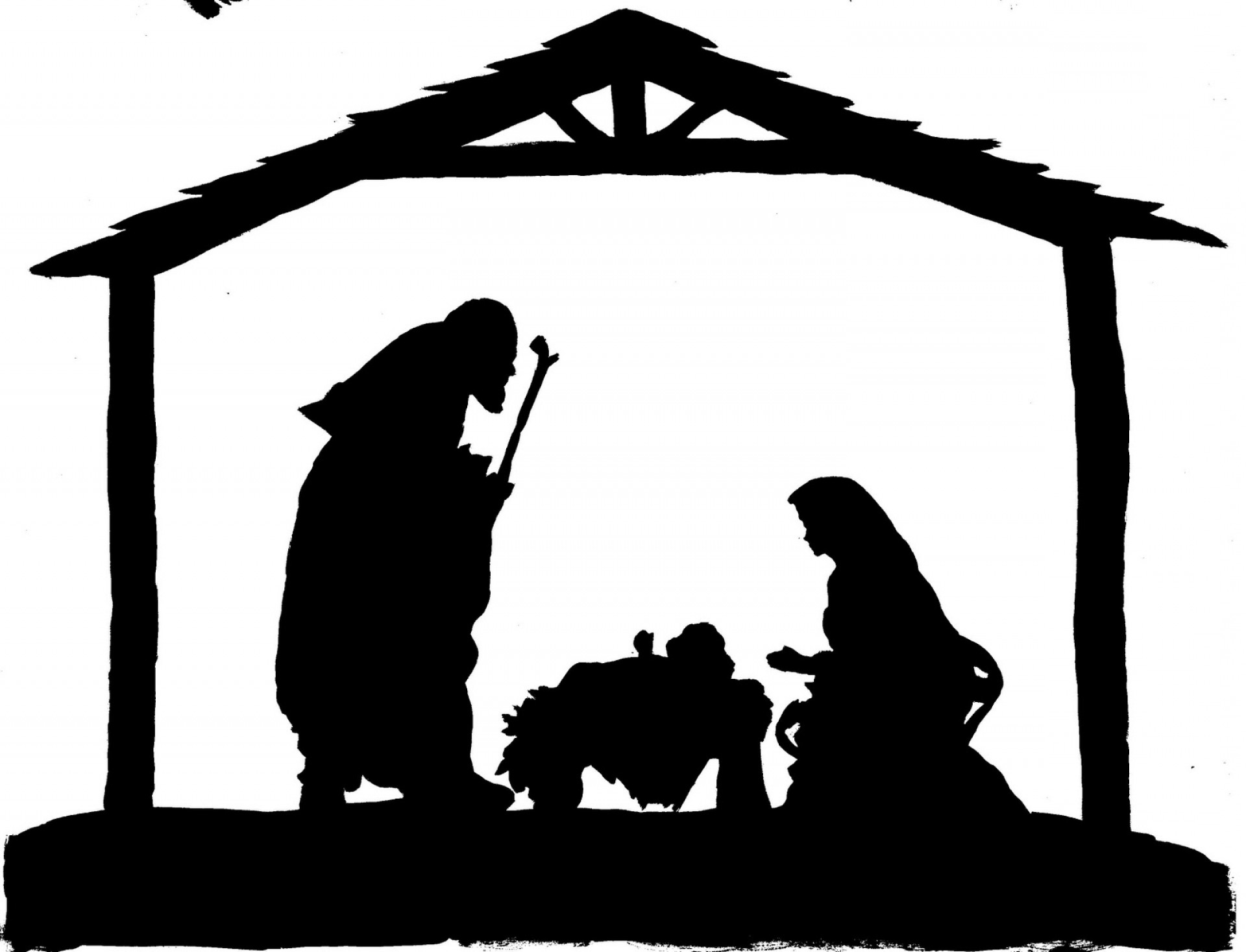 Nativity Scene Silhouette Clip Art.