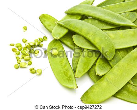Stock Photo of Mange Tout (Snow peas) pods isolated on a white.