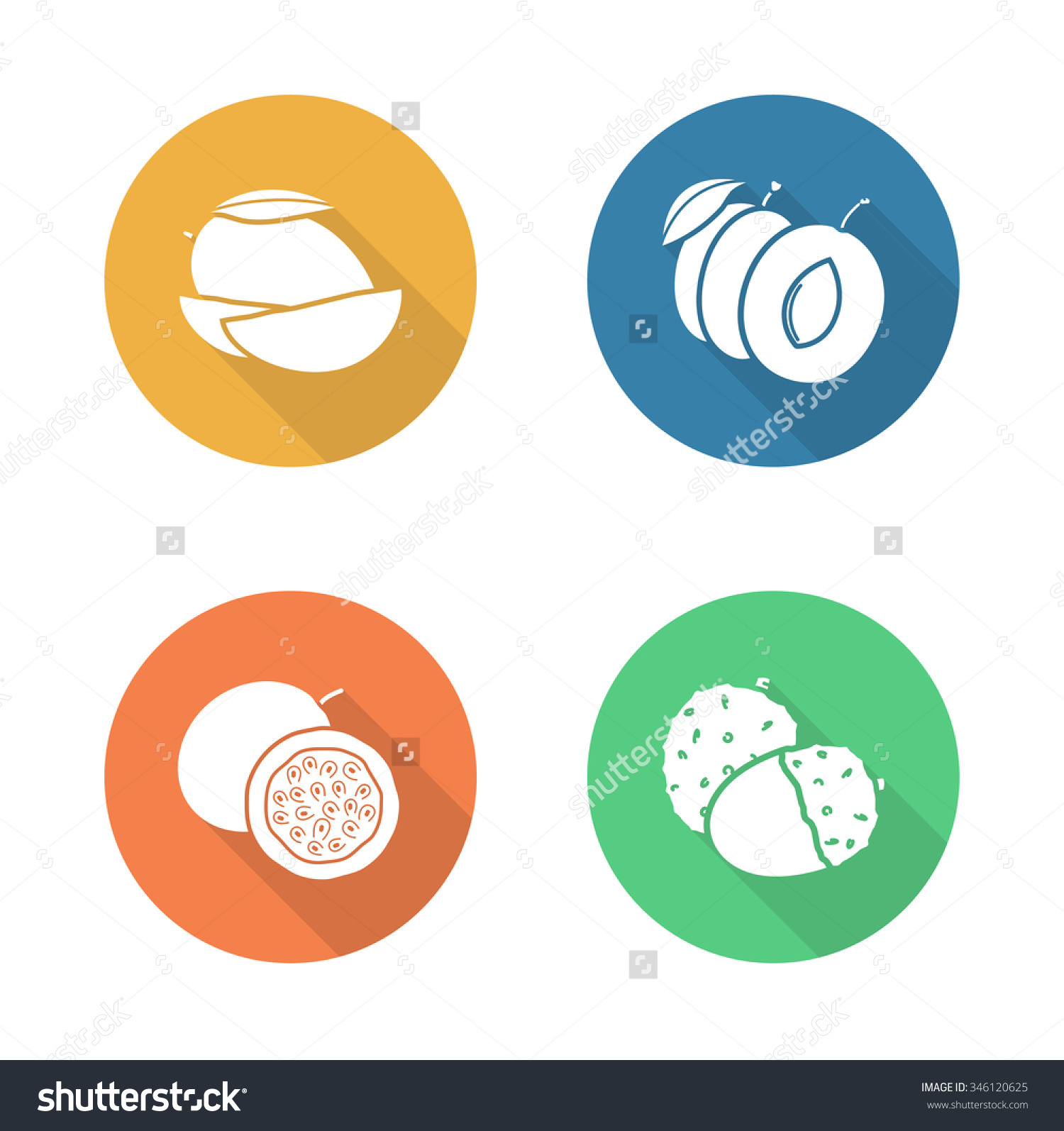 Fruits Flat Design Icons Set Sliced Stock Illustration 346120625.