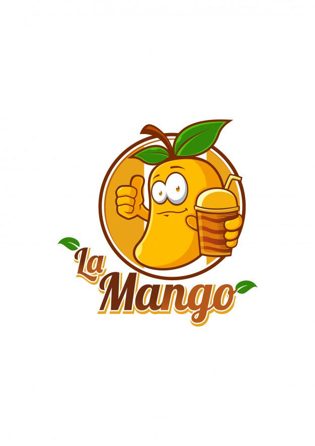 Mango juice mascot logo vector Vector.