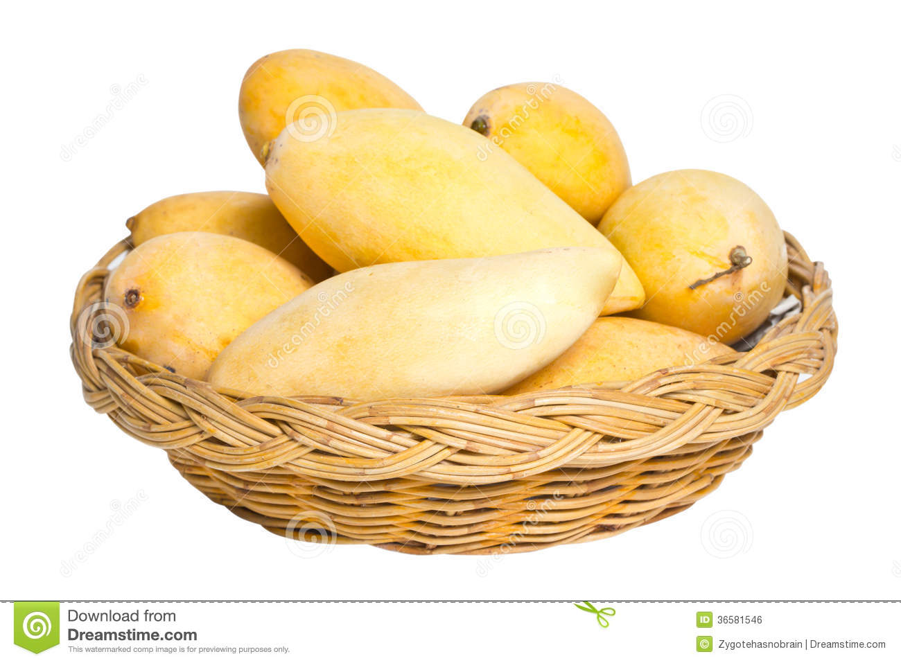 A Basket Of Ripe Mangoes Stock Vector.
