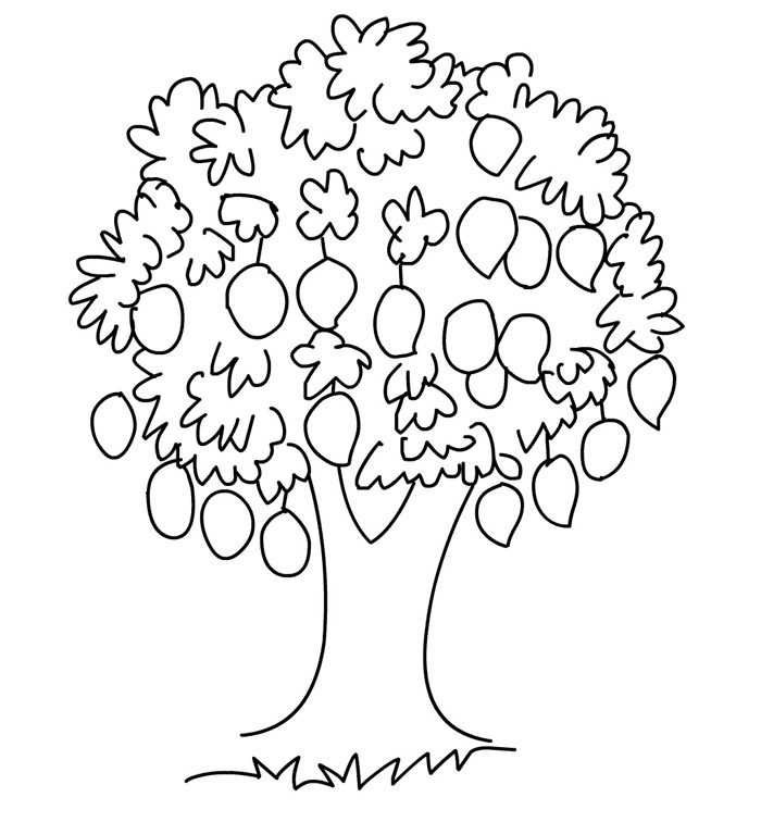 Mango tree clipart black and white.