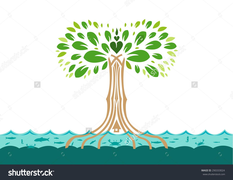 Mangrove Tree Leaf Shaped Heart Home Stock Vector 290333024.