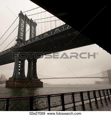 Stock Photograph of View of the Manhattan Bridge in Manhattan, New.