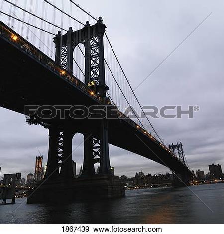 Stock Photograph of Manhattan bridge, Manhattan, New York City.