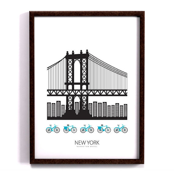 New York poster, Manhattan bridge, Art print, Scandinavian design.