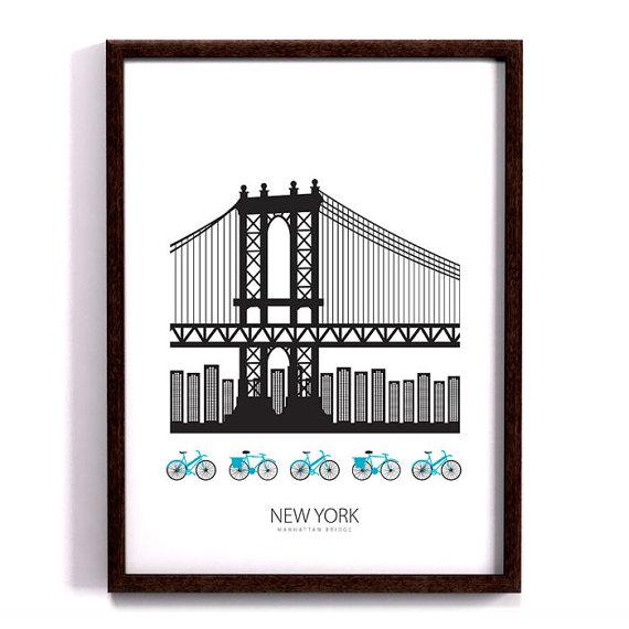 New York poster, Manhattan bridge, Art print, Scandinavian design.