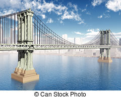 Clip Art of Manhattan Bridge.