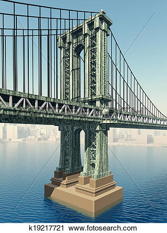 Clipart of Manhattan Bridge k19217721.