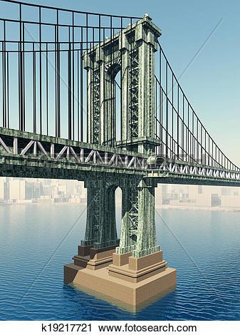 Clipart of Manhattan Bridge k19217721.