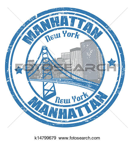 Clip Art of Manhattan stamp k14799679.