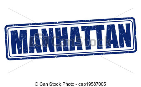 Vector Clipart of Manhattan stamp.