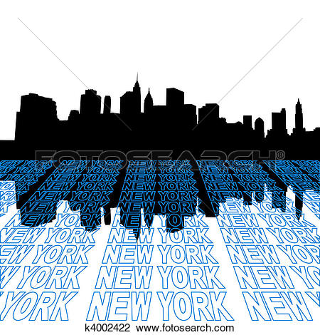 Drawing of Midtown Manhattan skyline k4002373.