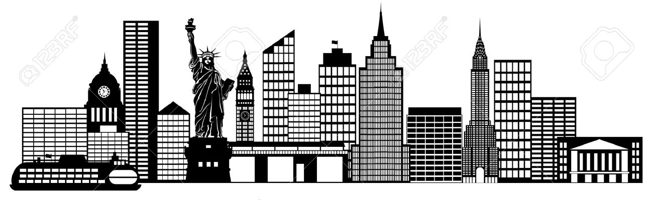 New York City Skyline Panorama Black And White Silhouette Clip.