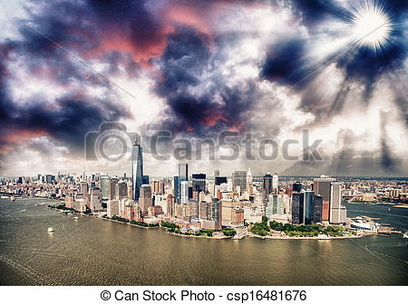 Picture of Helicopter view of New York City, Manhattan Island.