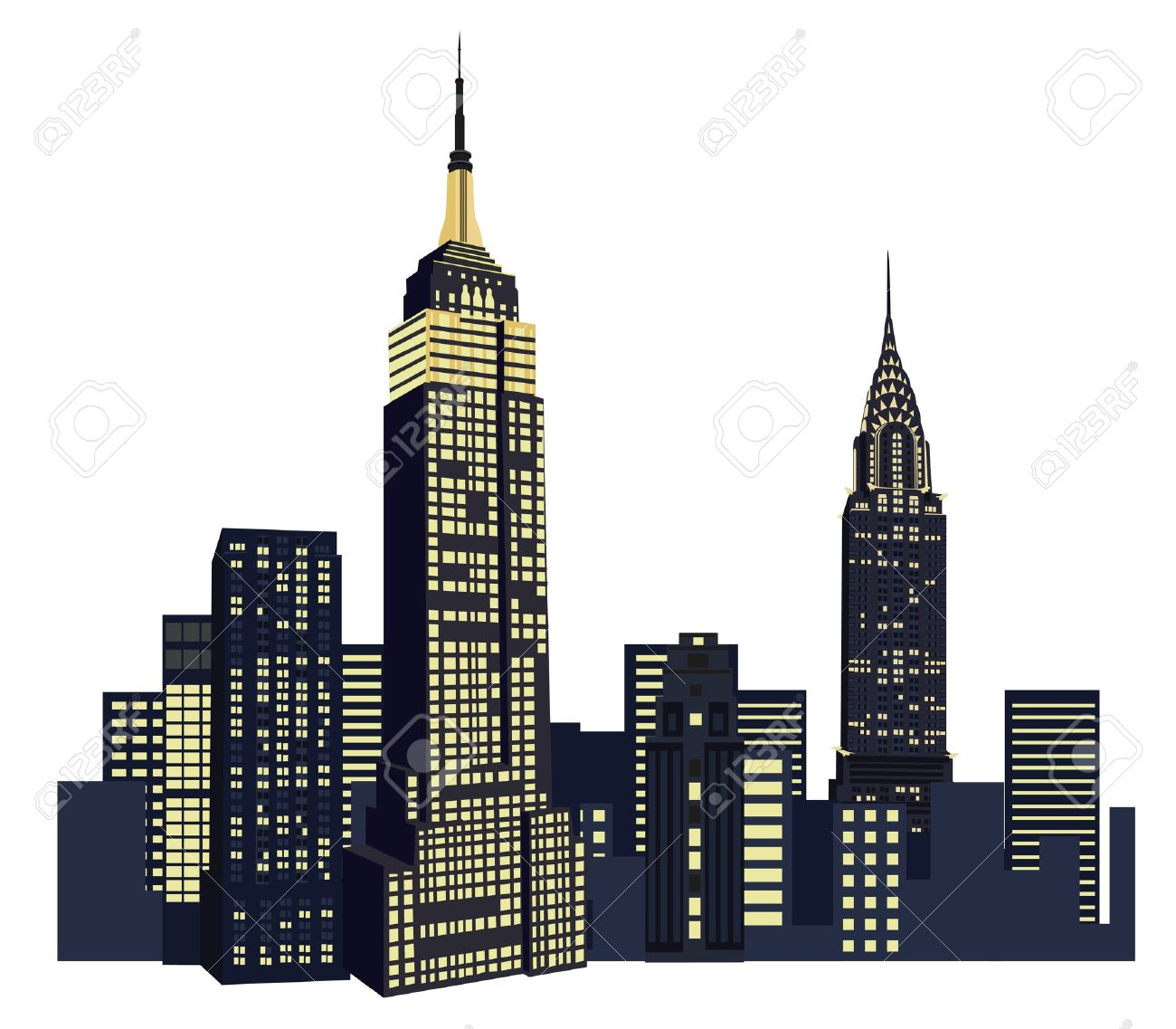 Illustration With New York City Skyline Isolated On White.