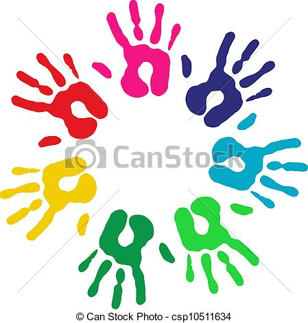 Vettori di Multicolor, diversità, cerchio, mani.