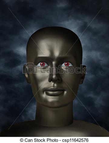Stock Illustrations of Dark mannequin face with red eyes in the.