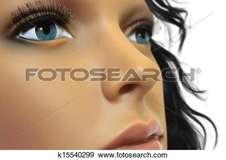 Stock Photograph of Mannequin Face Close Up k15540299.