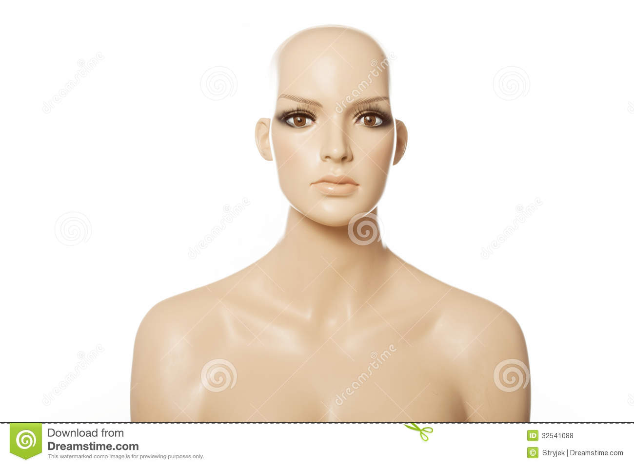 Head Of A Female Mannequin Face Royalty Free Stock Photos.