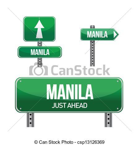 Clip Art Vector of manila city road sign illustration design over.