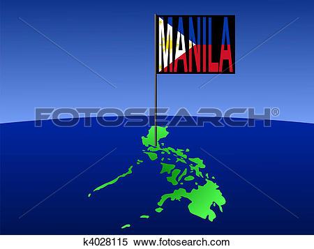 Stock Illustration of Philippines with Manila flag k4028115.