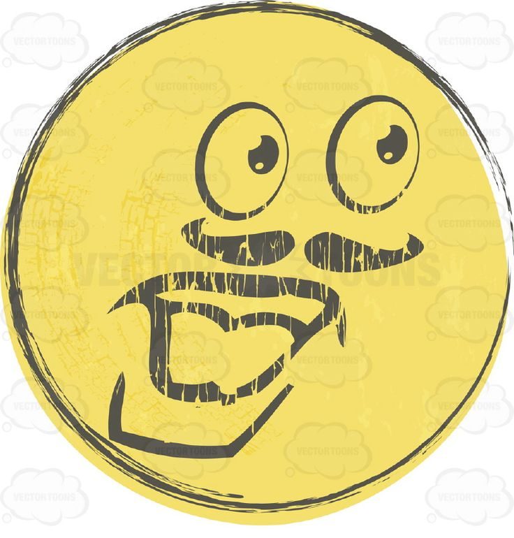 Mustache Strong Man Faded Yellow Rough Sketched Smiley Face.