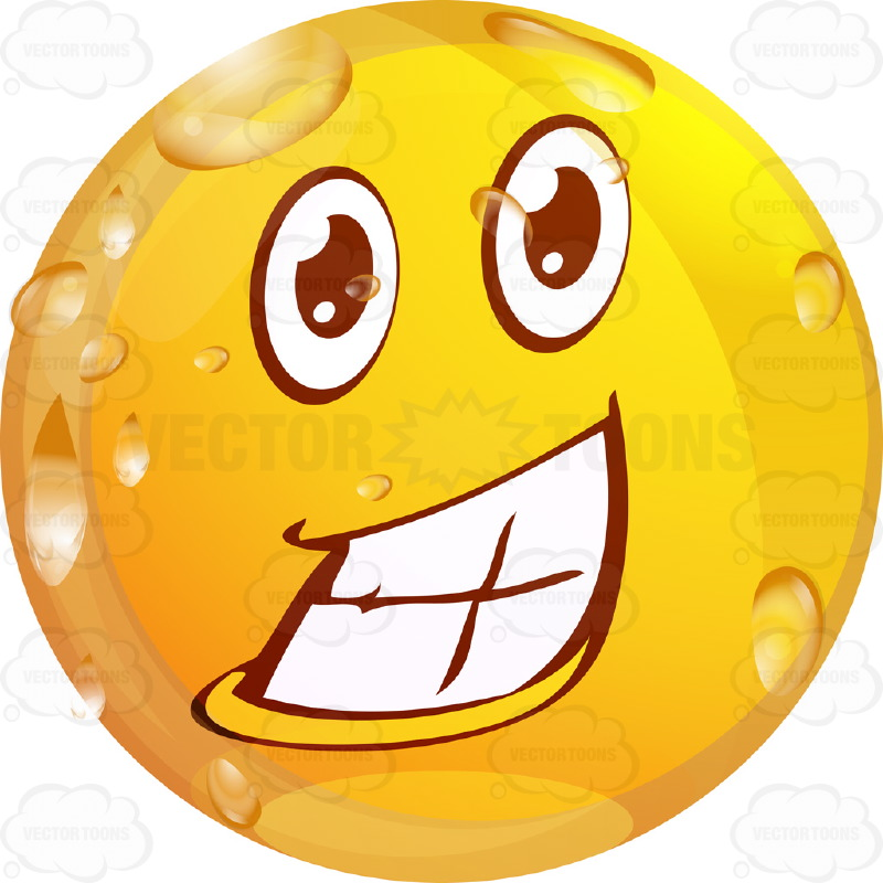 Thrilled Wet Yellow Smiley Face Emoticon Showing Full Teeth, Huge.