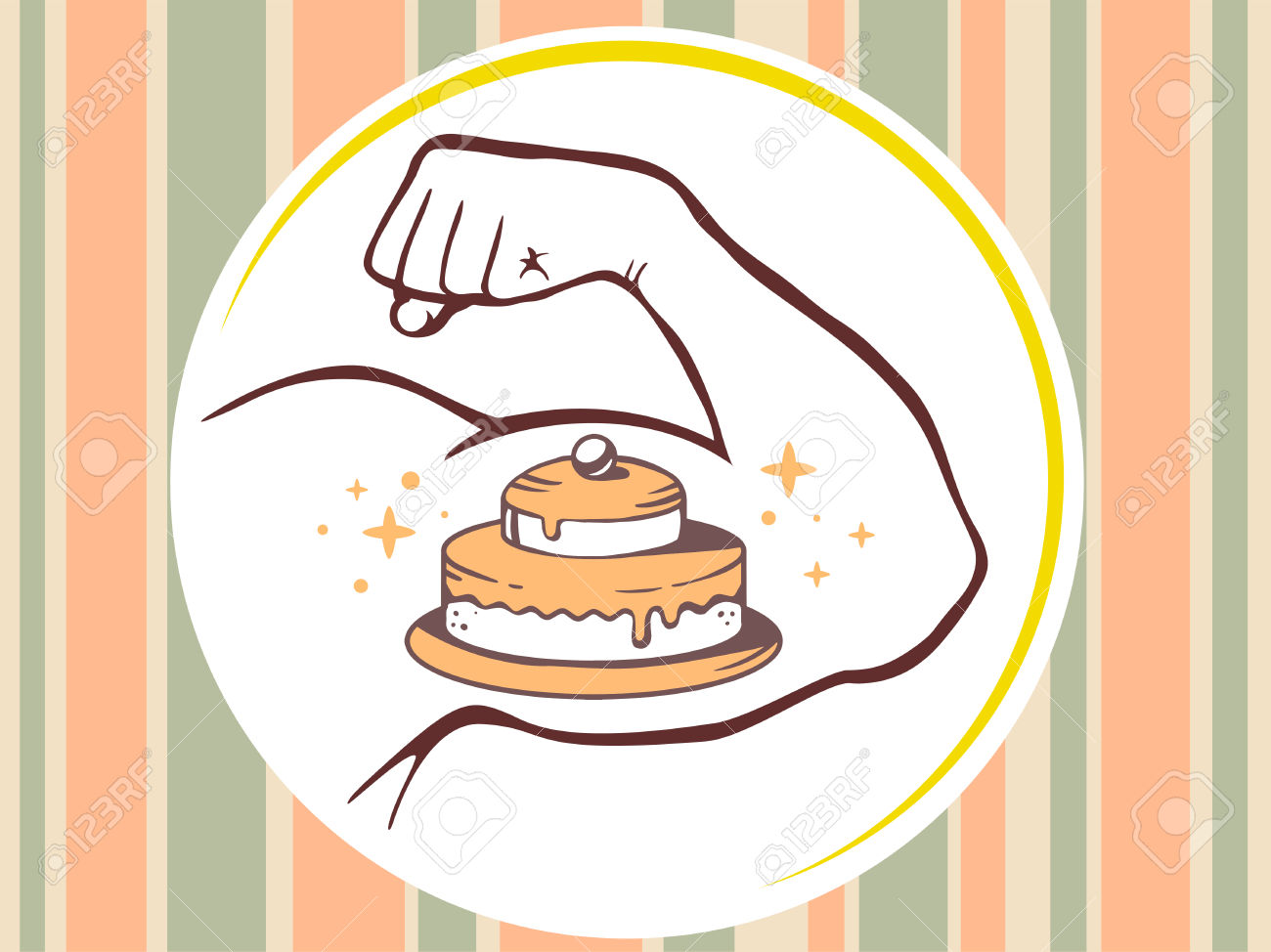 Vector Illustration Of Strong Man Hand With Icon Of Cake On.