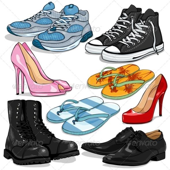 Vector Set of Cartoon Shoes by nikiteev.