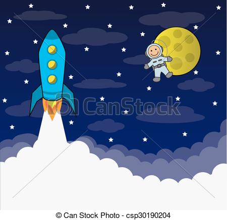 Vector Clipart of manned space flight.