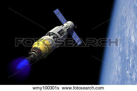 Stock Illustration of A manned orbital maintenance platform docked.