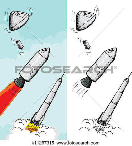 Clipart of Manned Rocket Stages k11267315.