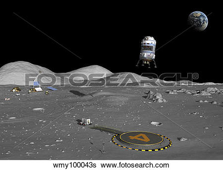 Stock Illustration of A lunar shuttle descends toward a manned.
