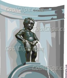 Manneken Pis Brussels Belgium Vector Clip art.