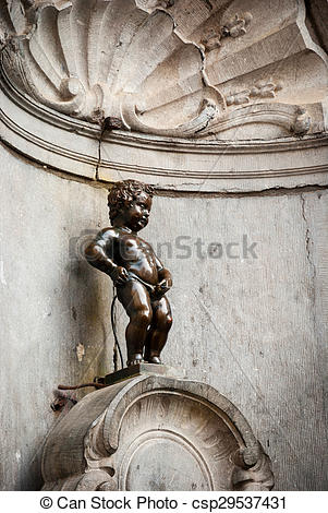 Stock Photos of Manneken Pis, little man pee, statue in Brussels.