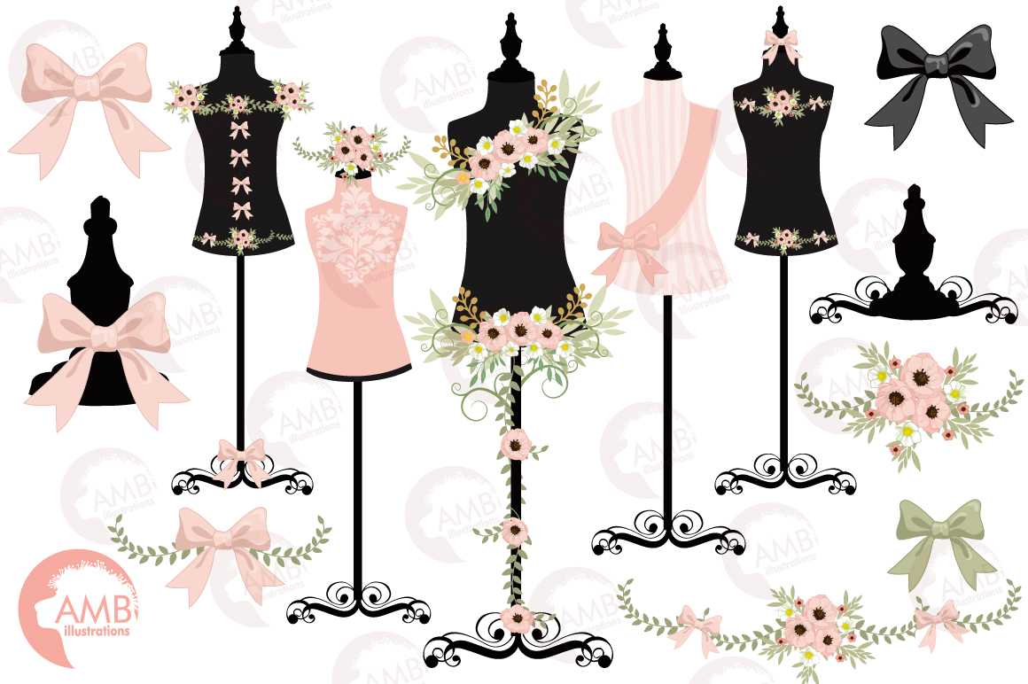 Dress forms mannequin clipart, graphics, illustrations AMB.