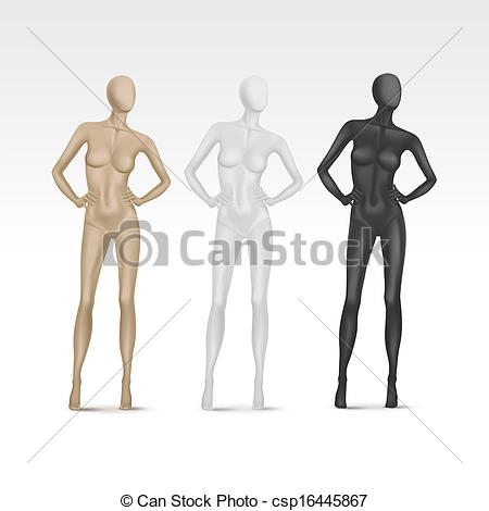 Clip Art Vector of Vector Isolated Female Mannequin csp16445867.