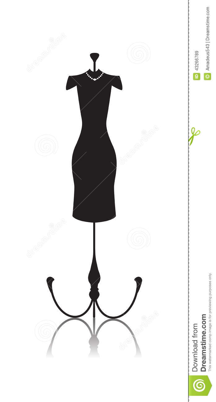 Tailor's Mannequin Dummy Doll Stock Vector.
